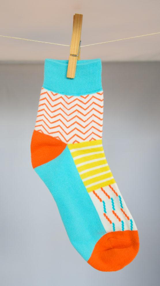 graphic blue orange socks