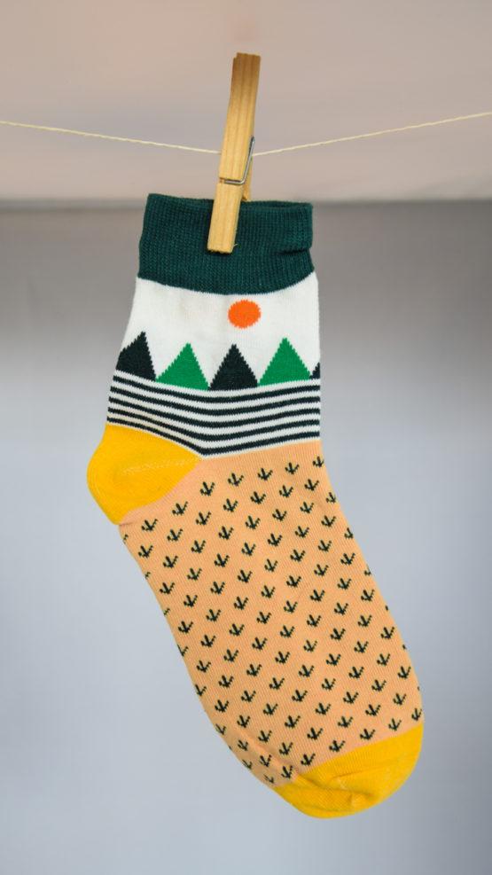 graphic green socks